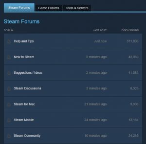 Steam Discussion Forums